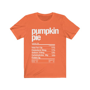 (Soft Unisex Bella) Thanksgiving Nutrition Matching Ice Breaker Tees - Pumpkin Pie