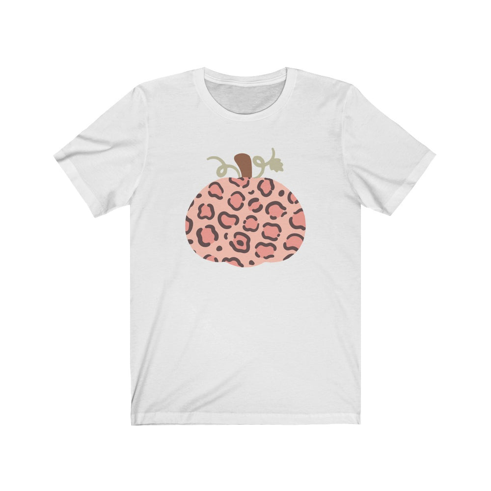 (Soft Unisex Bella) Pumpkin Leopard Pattern Fall-T-Shirt-Ellas-Canvas-DesIndie