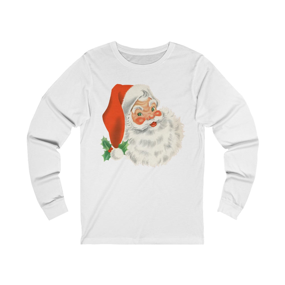 (Soft Unisex Jersey Long Sleeve Bella) Retro Vintage Santa Face