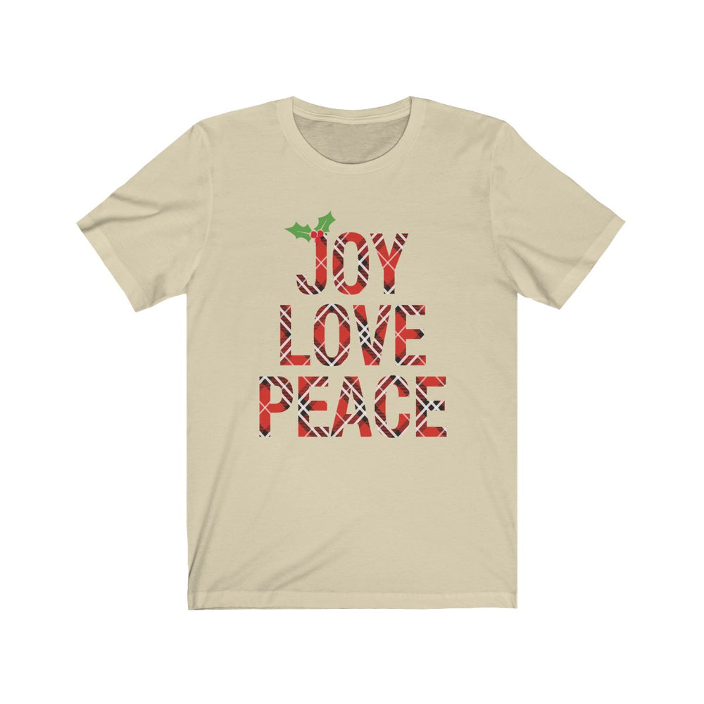 (Soft Unisex Bella) Joy Love Peace Plaid Holly Leaf