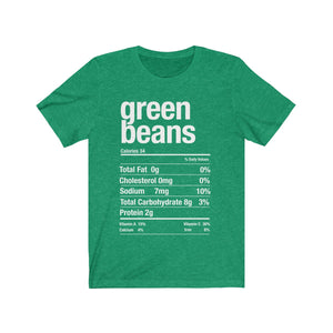 (Soft Unisex Bella) Thanksgiving Nutrition Matching Ice Breaker Tees - Green Beans
