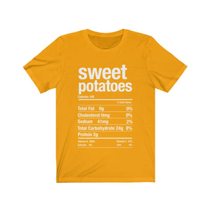 (Soft Unisex Bella) Thanksgiving Nutrition Matching Ice Breaker Tees - Sweet Potatoes