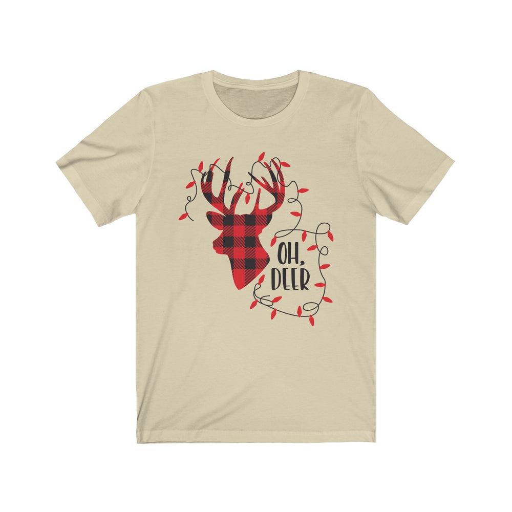 (Soft Unisex Bella) Oh Deer Plaid Red & Black Christmas Lights