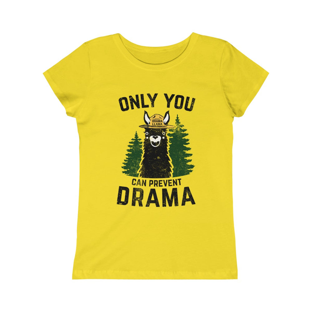 Girls Princess Tee - Only You Can Prevent Drama Llama Smokey Bear Parody-Kids clothes-Ellas-Canvas-DesIndie