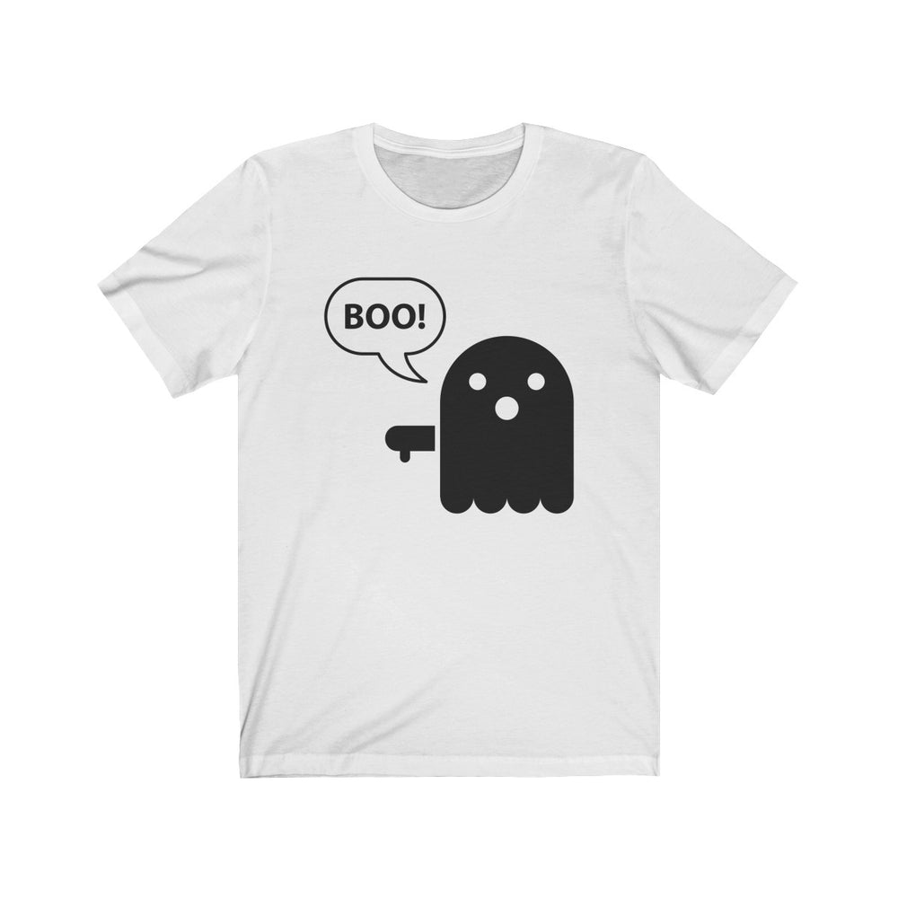 (Soft Unisex Bella) Boo! Ghost (black)-T-Shirt-Ellas-Canvas-DesIndie