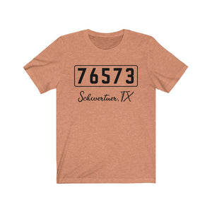 (Soft Unisex Bella) Zipcode City Name - Schwertner, TX 76573 (black)