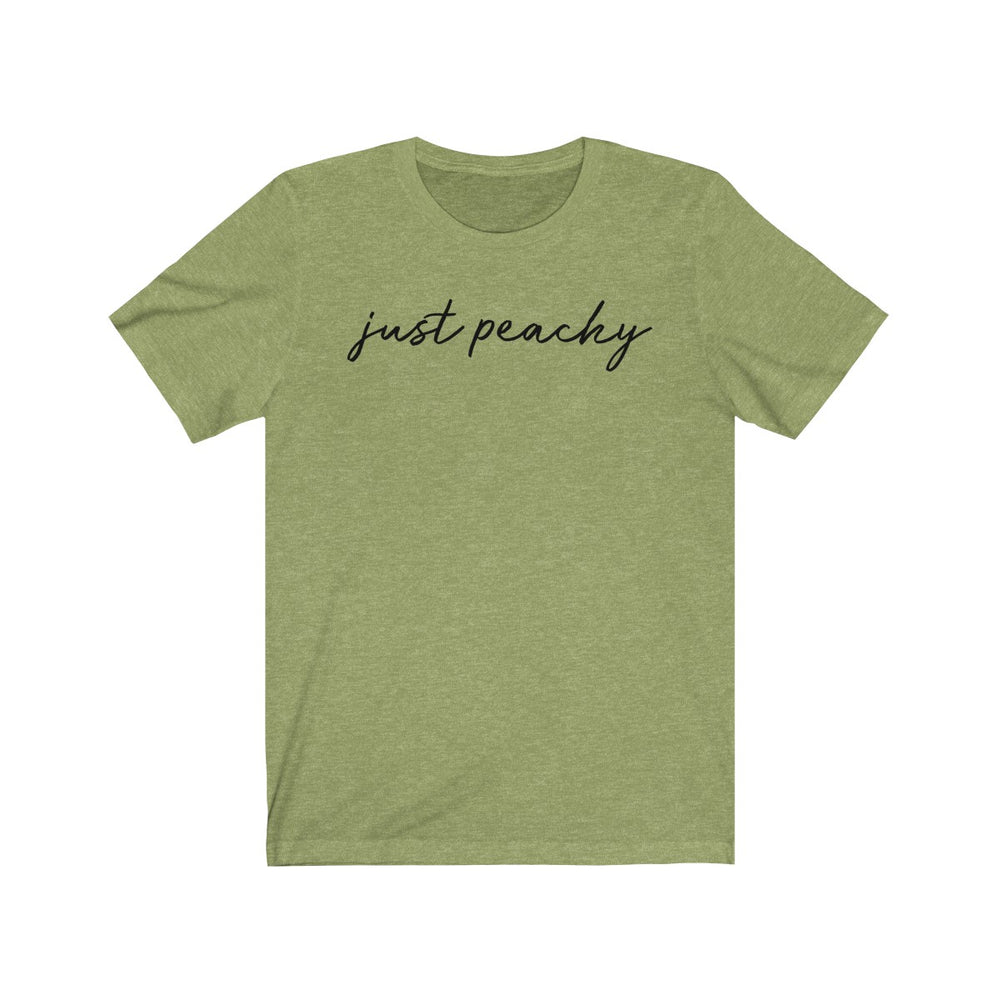 (Soft Unisex Bella) Just Peachy Cursive