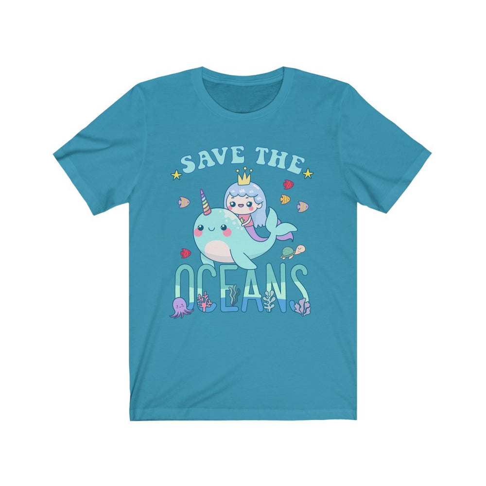 (Soft Unisex Bella) Save the Oceans Narwhal Girl