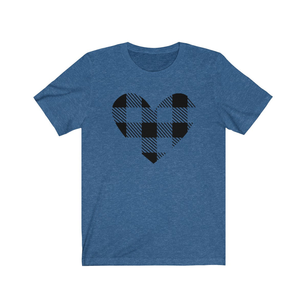 (Soft Unisex Bella) Plaid Heart