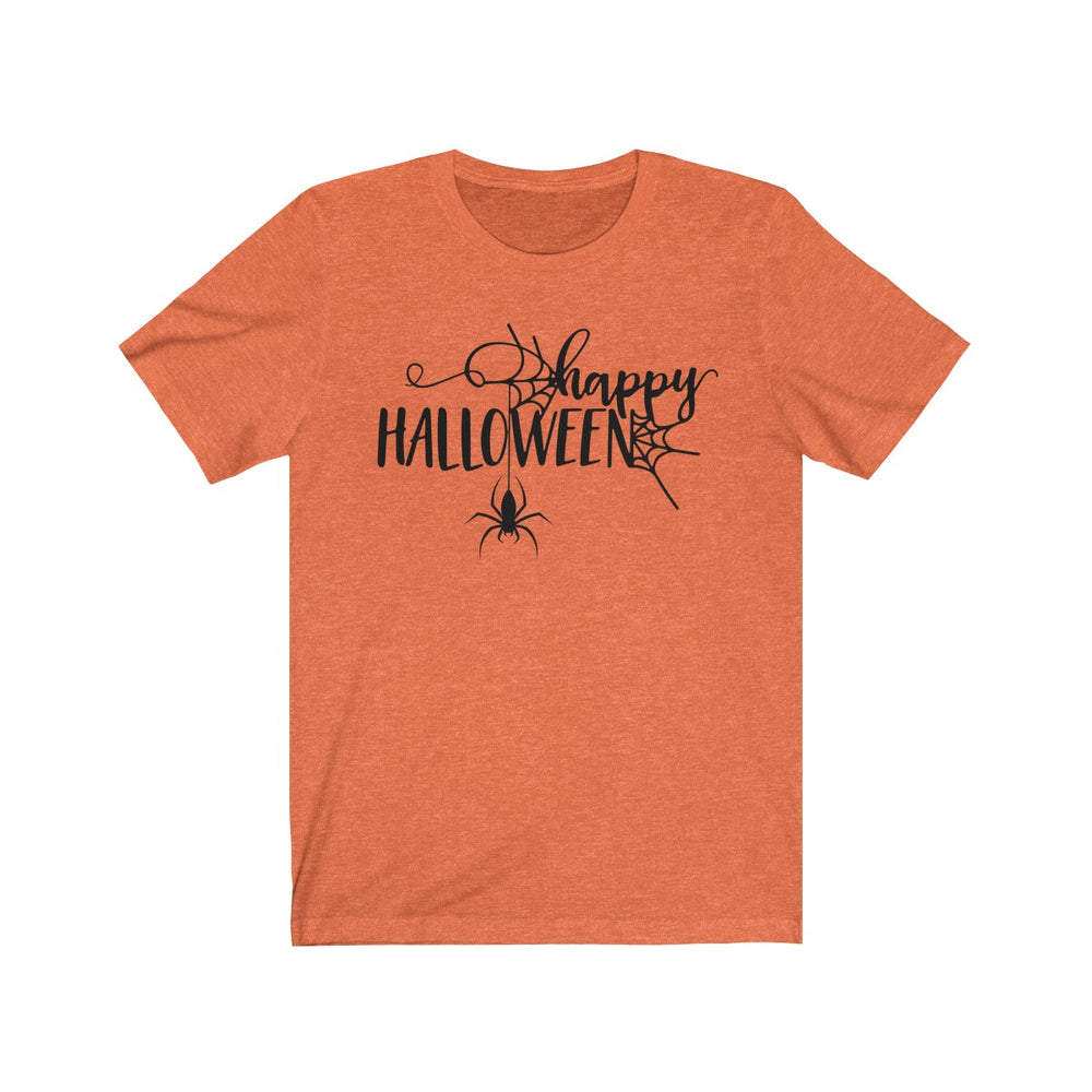 (Soft Unisex Bella) Happy Halloween Spider (black)