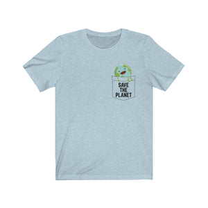 (Soft Unisex Bella) Fake Pocket Save the Planet Earth Globe