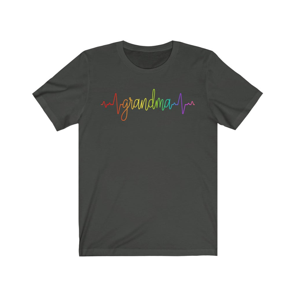 (Soft Unisex Bella) Heartbeat Pulse - Grandma (rainbow font)