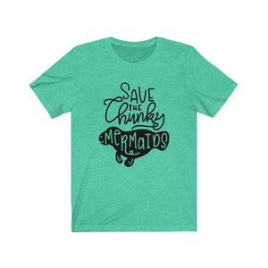(Soft Unisex Bella) Save the Chunky Mermaids Funny Animals-T-Shirt-Ellas-Canvas-DesIndie