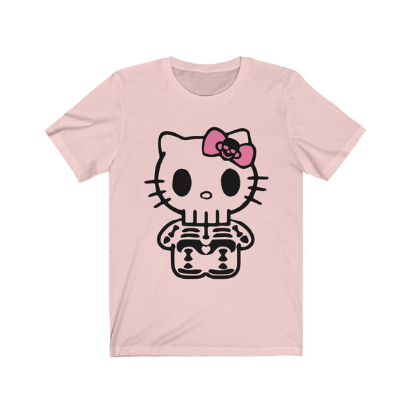 (Soft Unisex Bella) Kitty Skeleton Halloween-T-Shirt-Ellas-Canvas-DesIndie