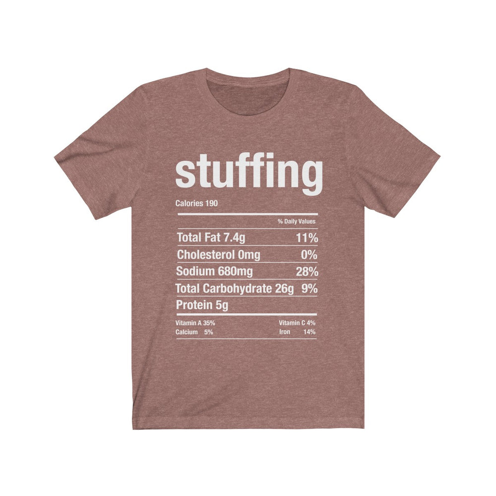 (Soft Unisex Bella) Thanksgiving Nutrition Matching Ice Breaker Tees - Stuffing (white font)