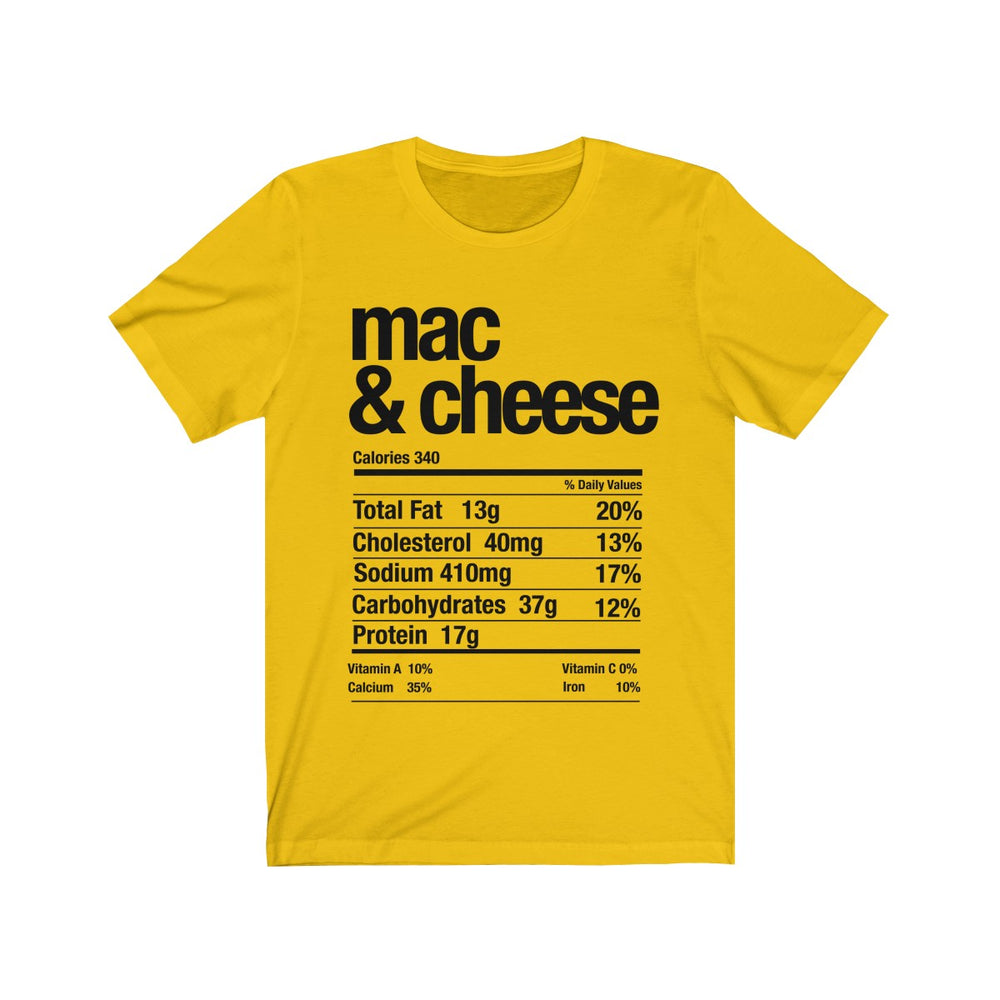 (Soft Unisex Bella) Thanksgiving Nutrition Matching Ice Breaker Tees - Mac & Cheese