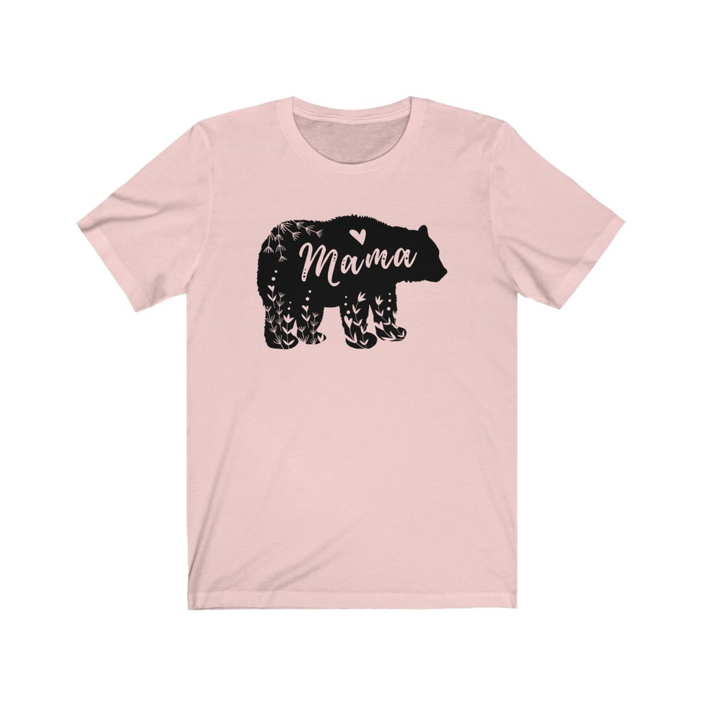 (Soft Unisex Bella) Mama Bear Floral Design (black)