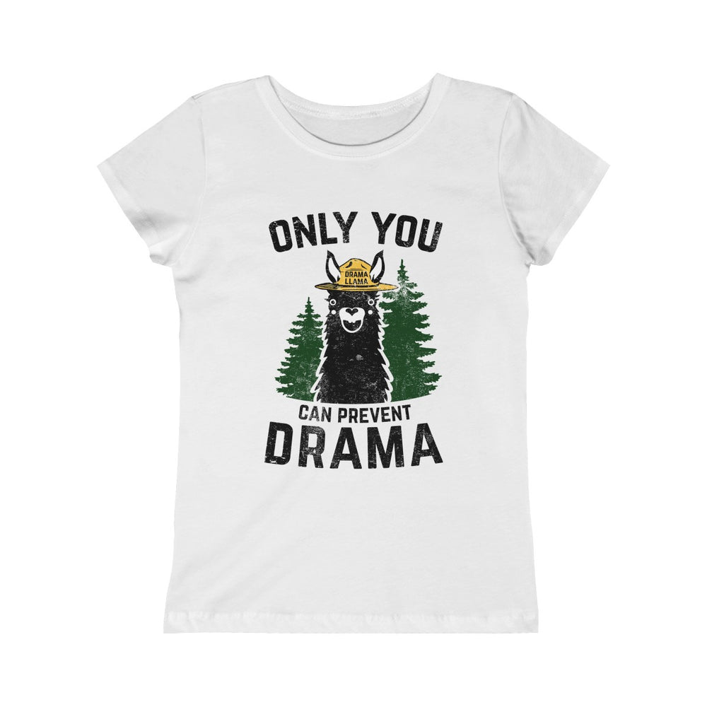 Girls Princess Tee - Only You Can Prevent Drama Llama Smokey Bear Parody