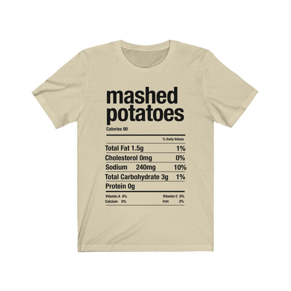 (Soft Unisex Bella) Thanksgiving Nutrition Matching Ice Breaker Tees - Mashed Potatoes