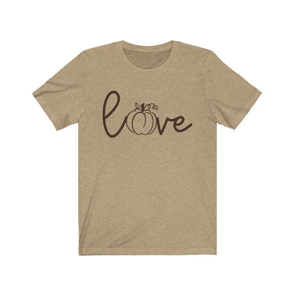 (Soft Unisex Bella) Love Pumpkin Letter O-T-Shirt-Ellas-Canvas-DesIndie