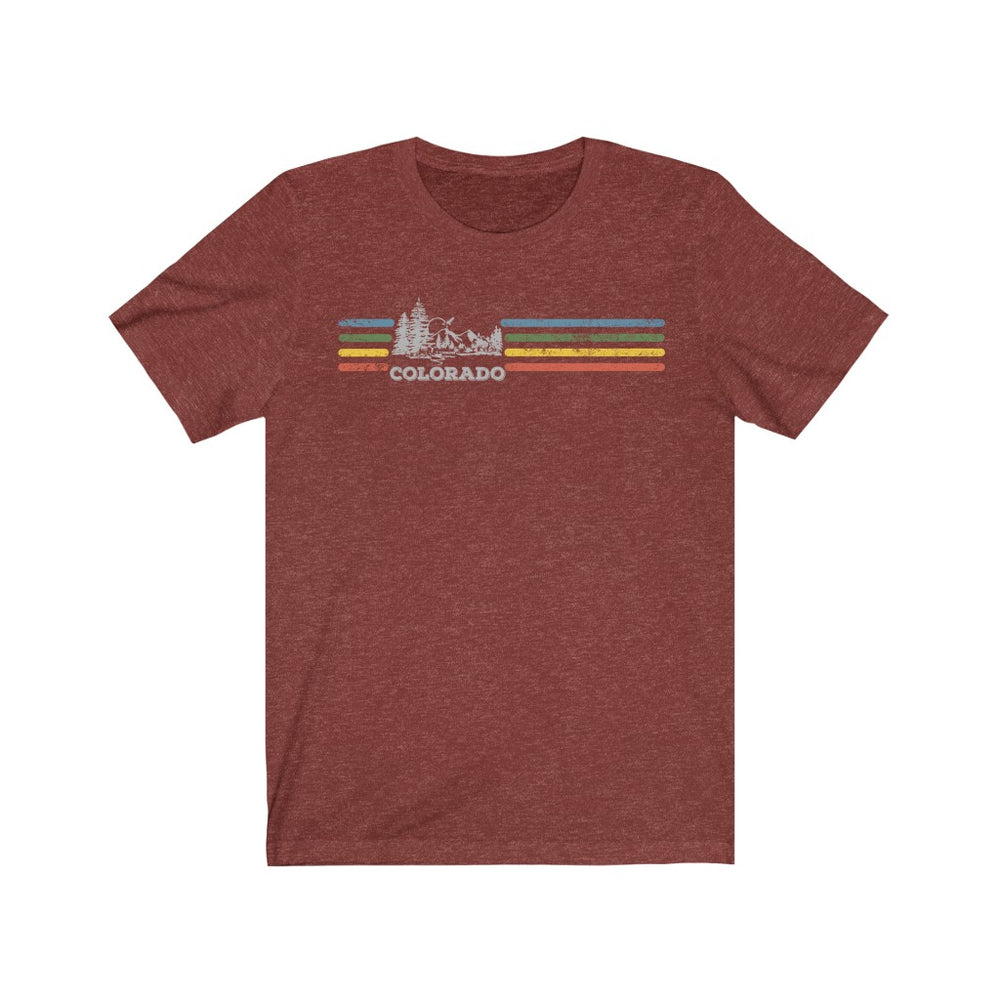 (Soft Unisex Bella) Colorado Retro Rainbow Stripes | Iconic State Tee T-Shirt
