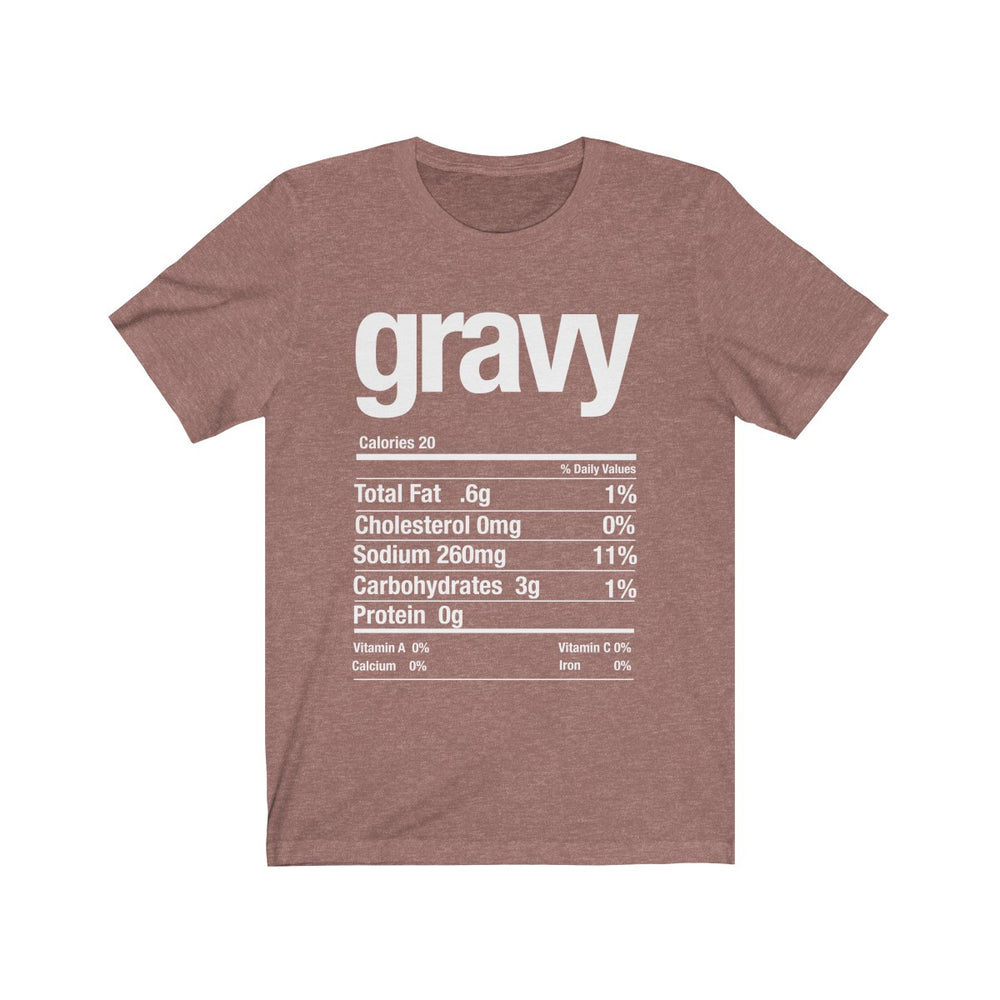 (Soft Unisex Bella) Thanksgiving Nutrition Matching Ice Breaker Tees - Gravy (white font)
