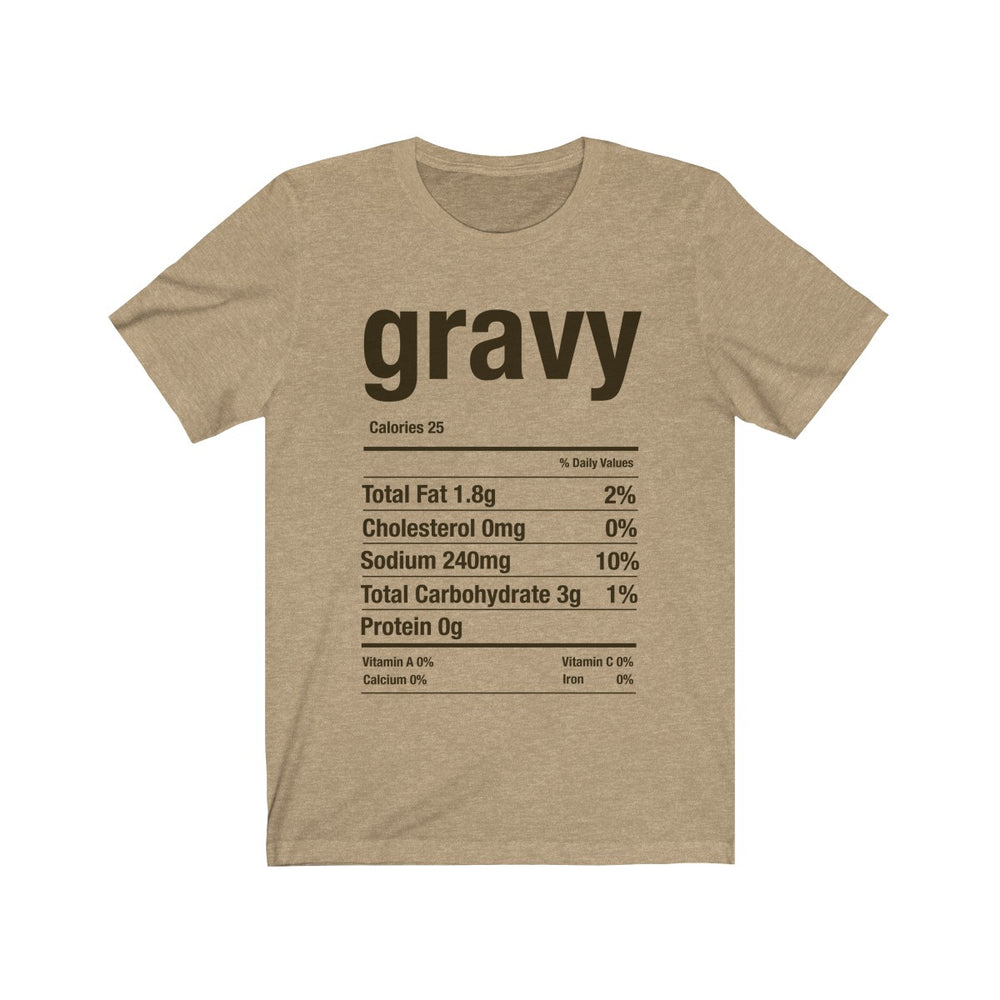 (Soft Unisex Bella) Thanksgiving Nutrition Matching Ice Breaker Tees - Gravy