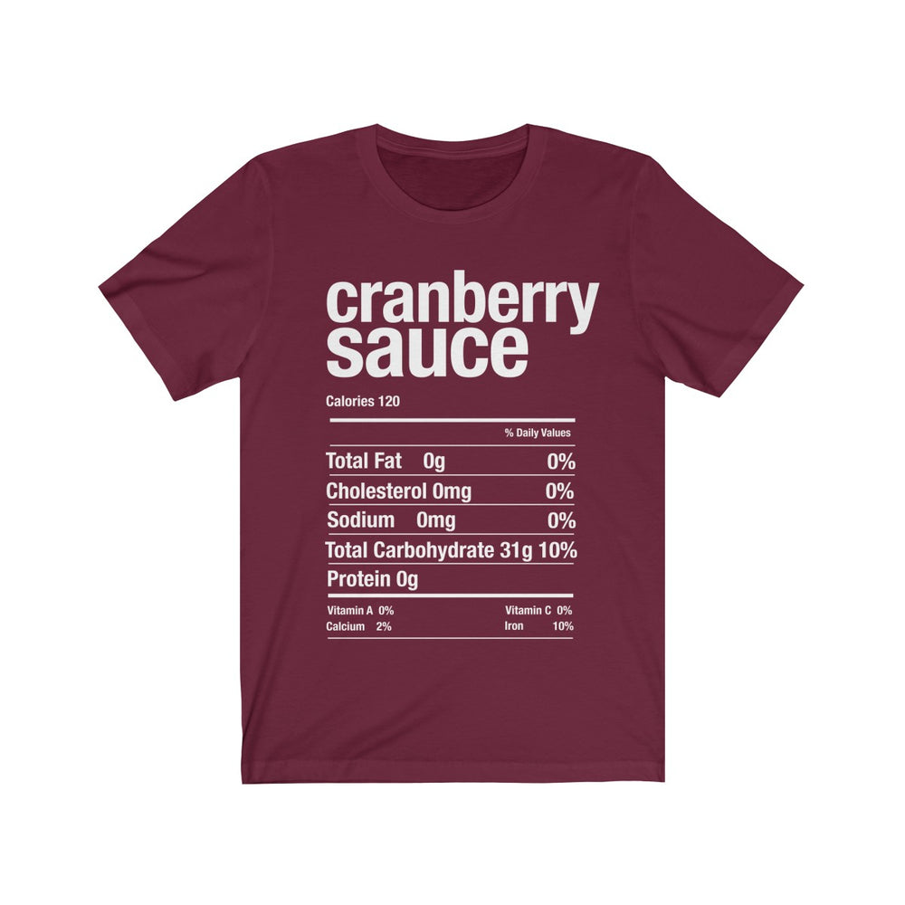 (Soft Unisex Bella) Thanksgiving Nutrition Matching Ice Breaker Tees - Cranberry Sauce