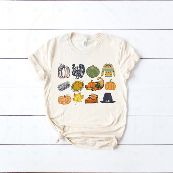 (Soft Unisex Bella) It's the Little Things Thanksgiving Harvest Pumpkin Turkey Corn
