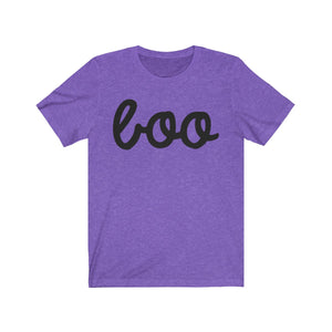 (Soft Unisex Bella) Boo Ghost Cursive (black)-T-Shirt-Ellas-Canvas-DesIndie