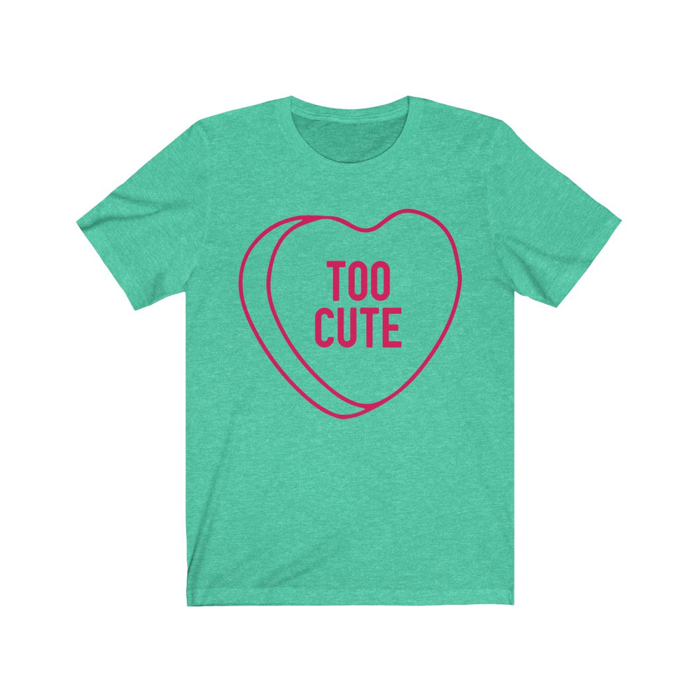 (Unisex Soft Bella) Conversational Heart Outline Costume Tee - TOO CUTE