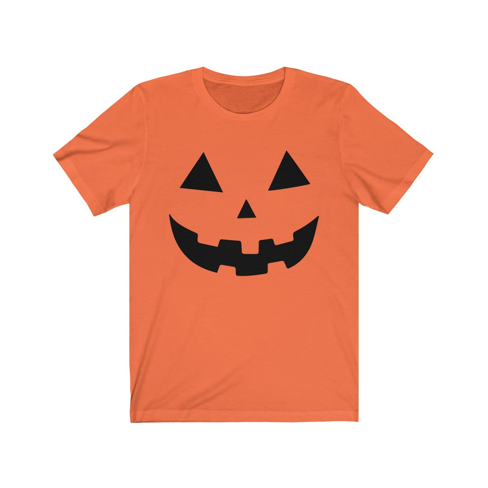 (Soft Unisex Bella) Pumpkin Face (black)-T-Shirt-Ellas-Canvas-DesIndie