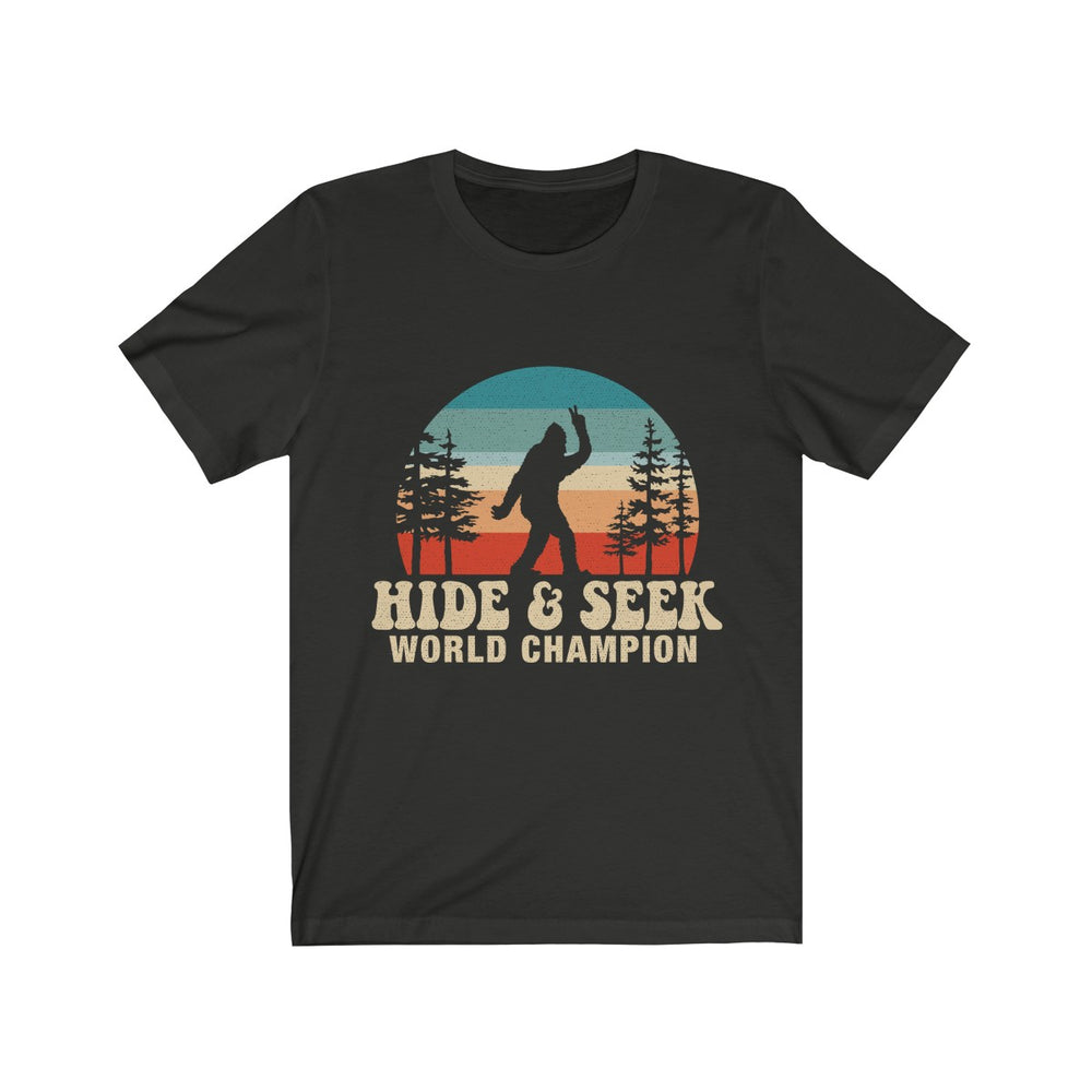 (Soft Unisex Bella) Hide & Seek World Champion Retro Rainbow sunset Sihlouette