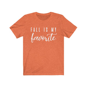 (Soft Unisex Bella) Fall is My Favorite (white)-T-Shirt-Ellas-Canvas-DesIndie