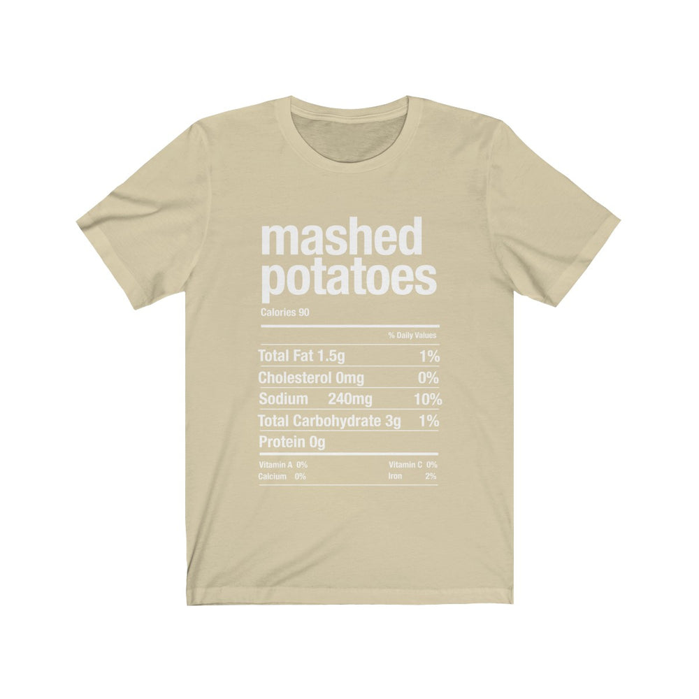 (Soft Unisex Bella) Thanksgiving Nutrition Matching Ice Breaker Tees - Mashed Potatoes (white font)