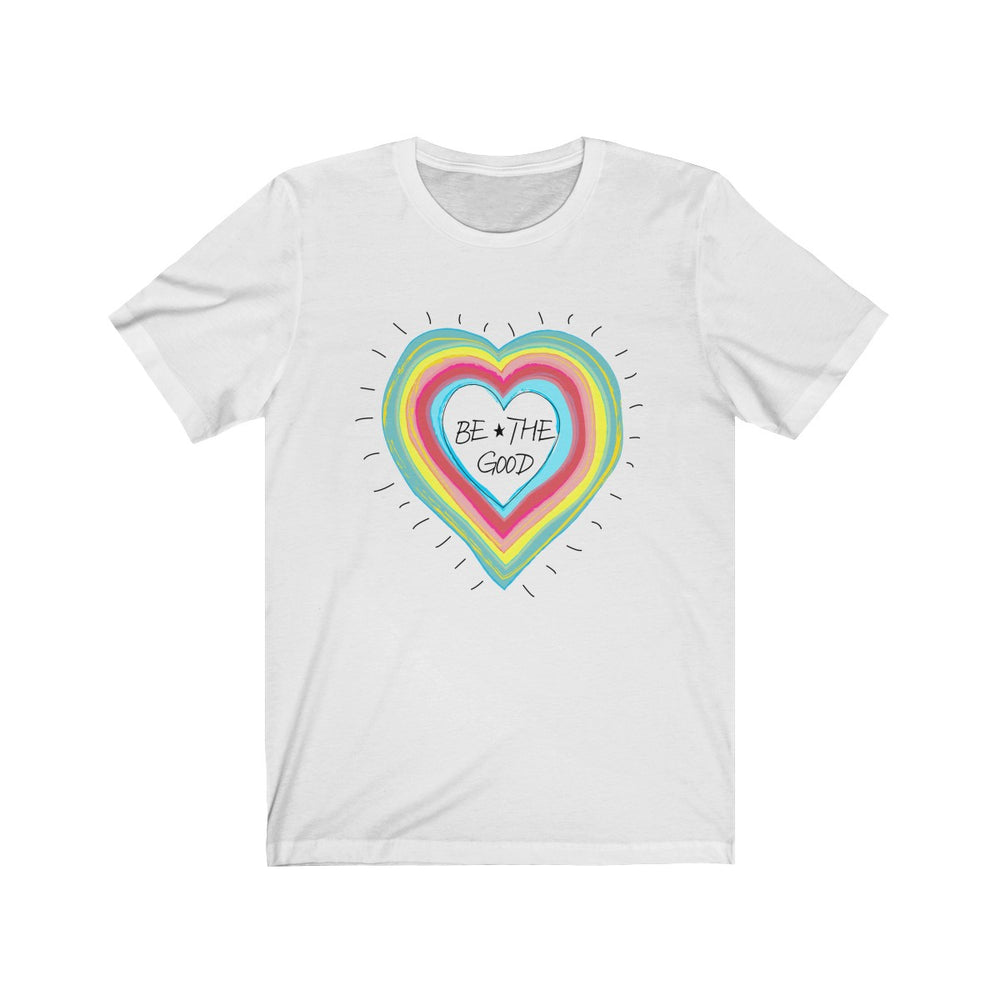 (Soft Unisex Bella) Be The Good Retro Rainbow Heart Love