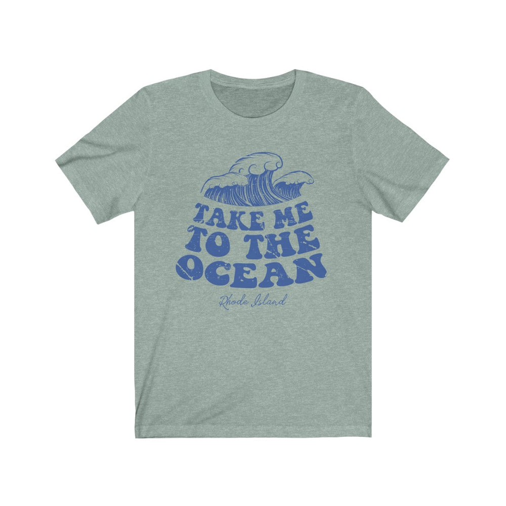 (Soft Unisex Bella) Take me to the Ocean Rhode Island (darker) | Iconic State Tee T-Shirt