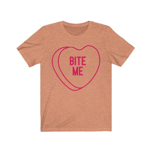 (Unisex Soft Bella) Conversational Heart Outline Costume Tee - BITE ME
