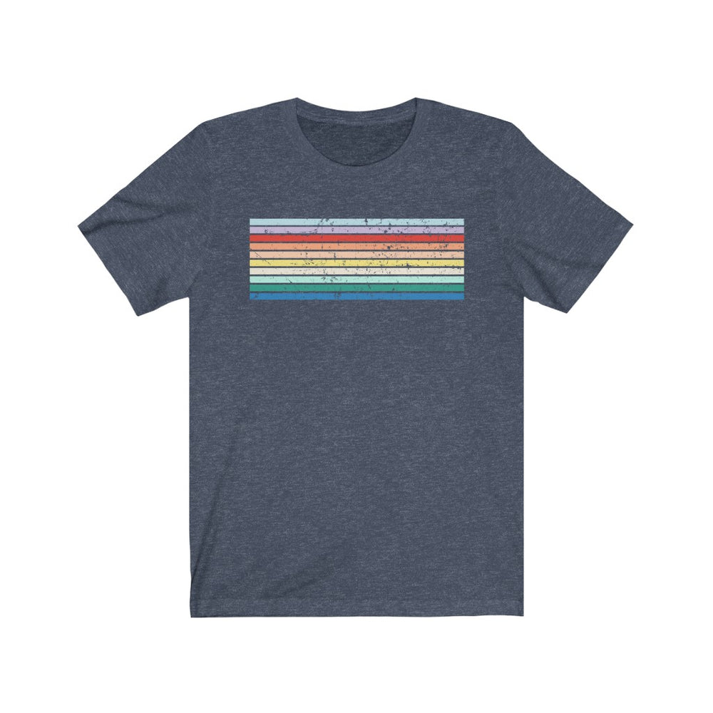(Soft Unisex Bella) Retro Light Colored Rainbow Stripes (grunged)