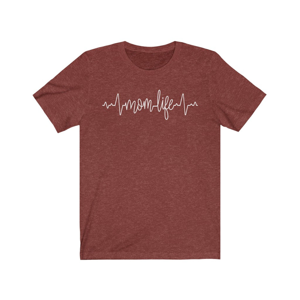 (Soft Unisex Bella) Custom Heartbeat Pulse Saying - Mom Life