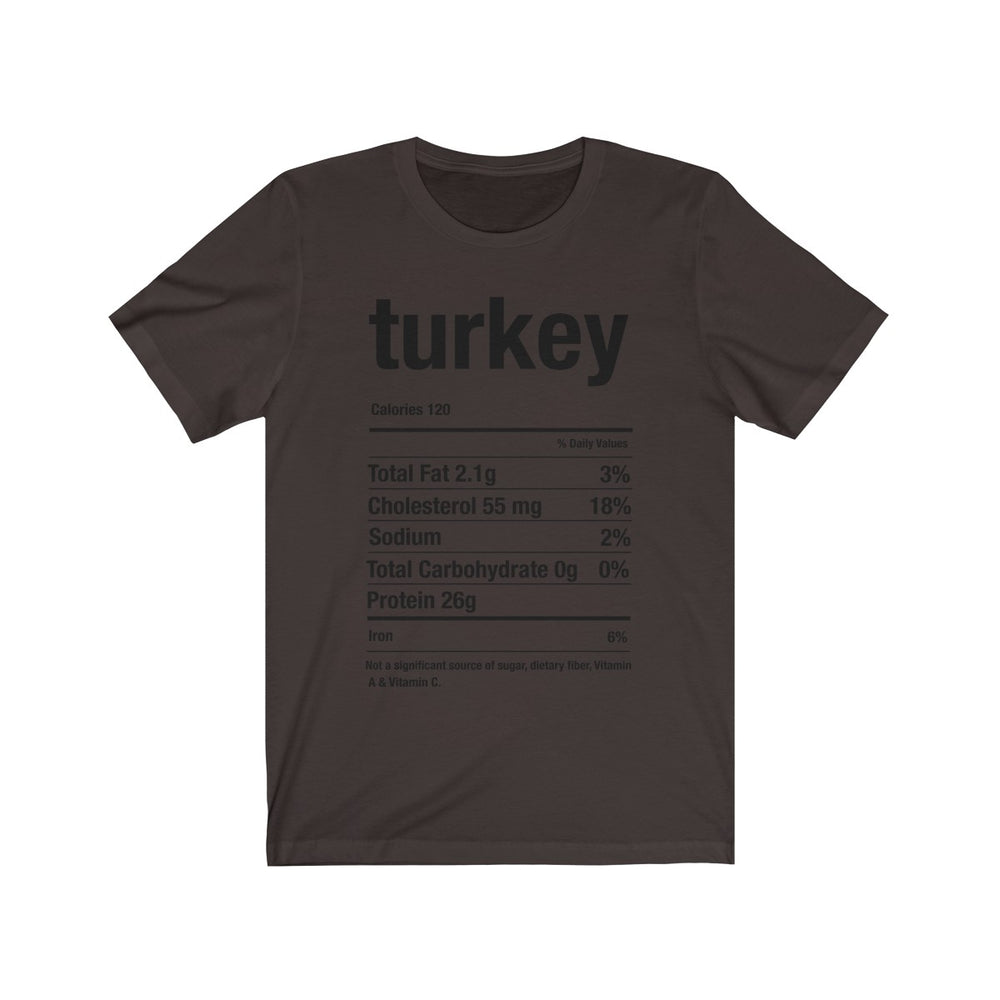 (Soft Unisex Bella) Thanksgiving Nutrition Matching Ice Breaker Tees - Turkey (black)