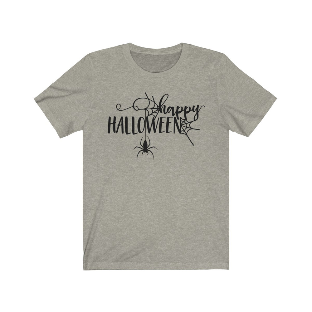 (Soft Unisex Bella) Happy Halloween Spider (black)-T-Shirt-Ellas-Canvas-DesIndie