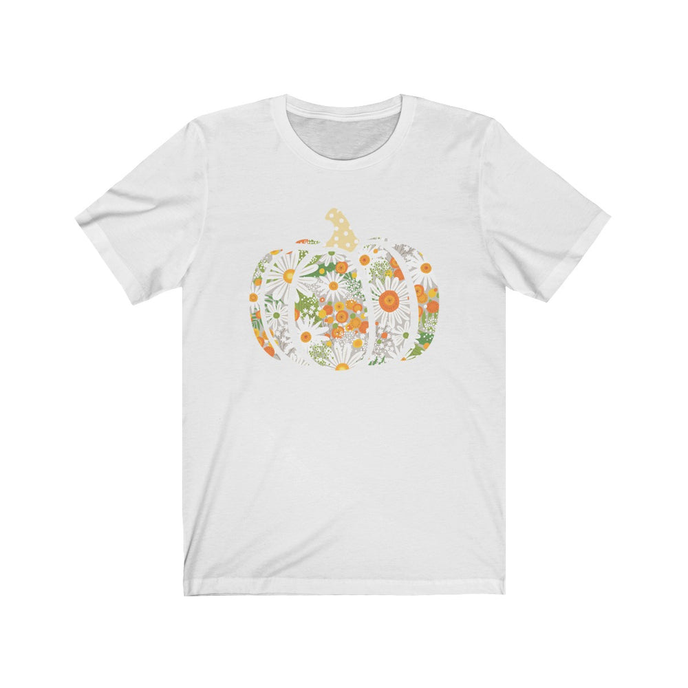 (Soft Unisex Bella) Floral Daisy Pumpkin Fall-T-Shirt-Ellas-Canvas-DesIndie