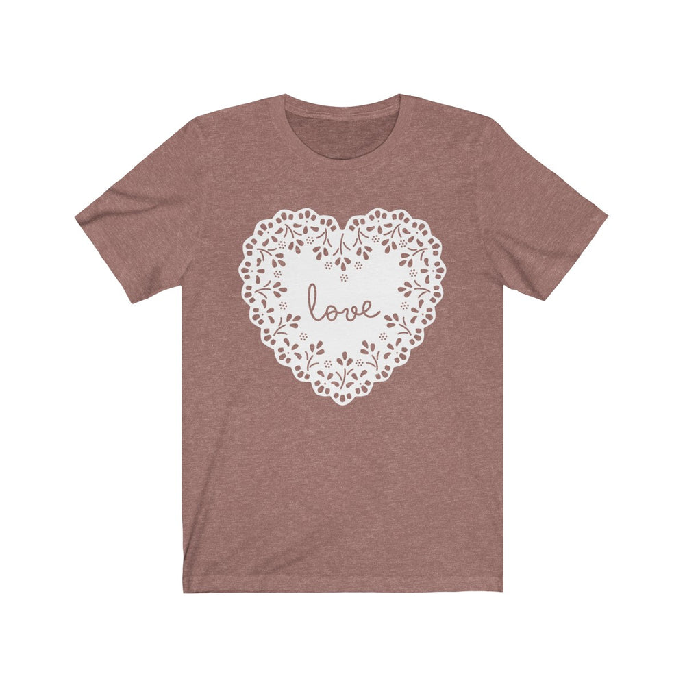 (Soft Unisex Bella) Love Heart Doilie