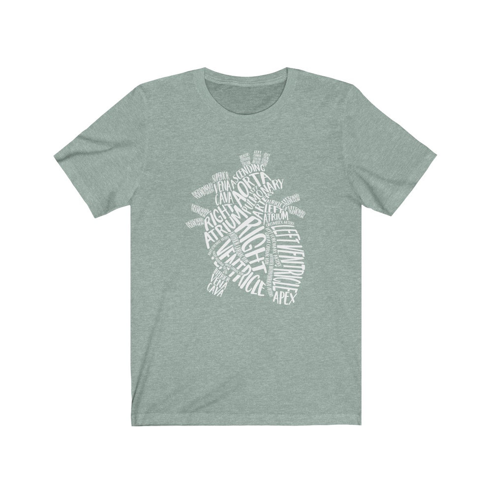 (Soft Unisex Bella - other colors) Heart Vocabulary Words (white)