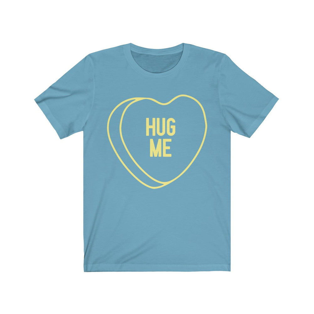 (Unisex Soft Bella) Conversational Heart Outline Costume Tee - HUG ME