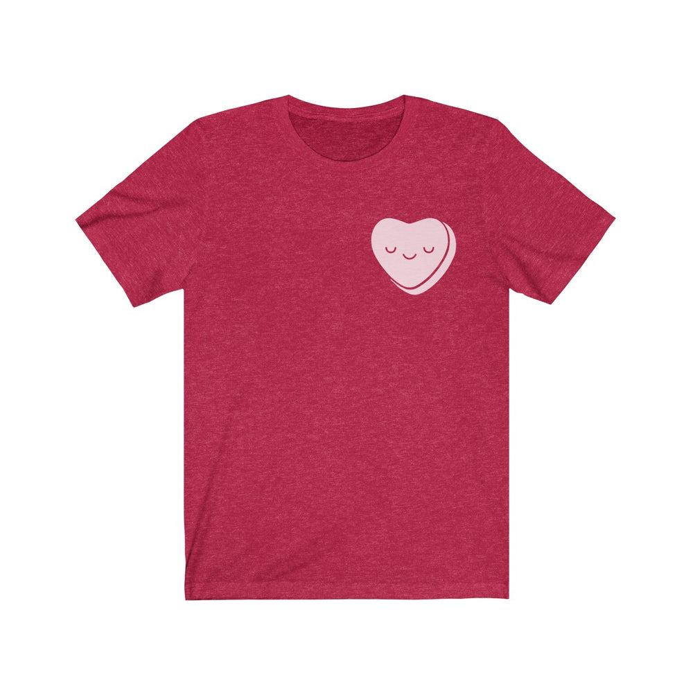 (Soft Unisex Bella) Corner Valentine's Heart - Smiley Heart Closing Eyes