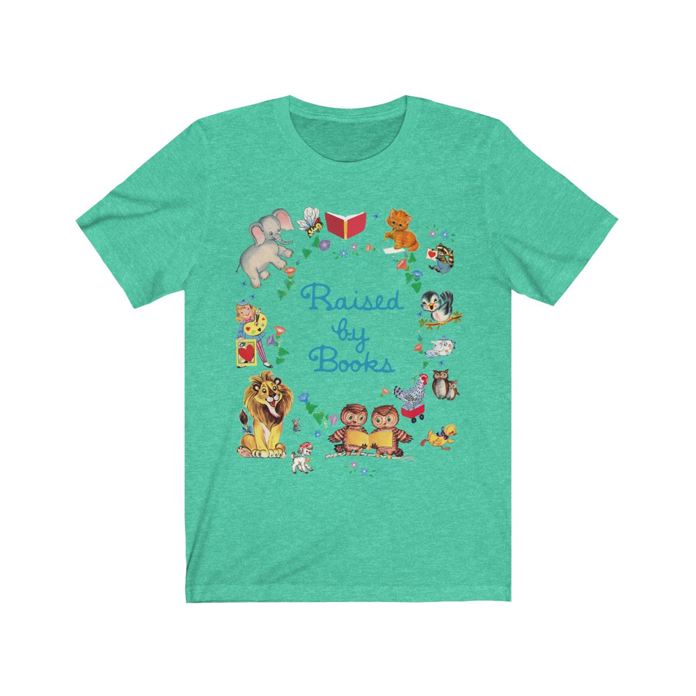 (Soft Unisex Bella) Raised By Books Vintage Children's Teaching Reading Nostalgia