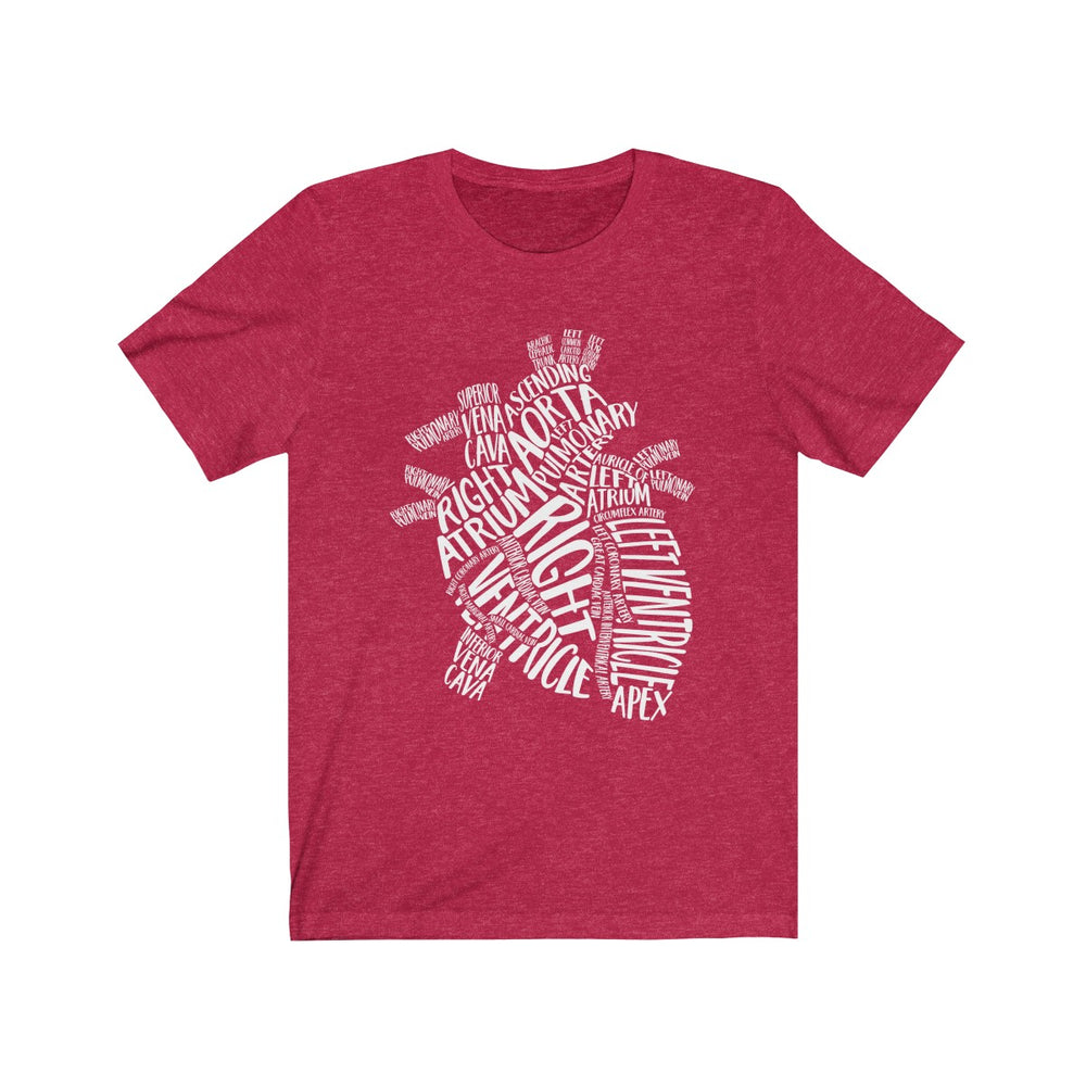 (Soft Unisex Bella) Heart Vocabulary Words (white)