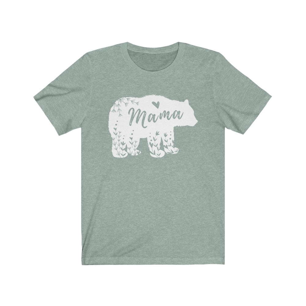 (Soft Unisex Bella) Mama Bear Floral Design (white)